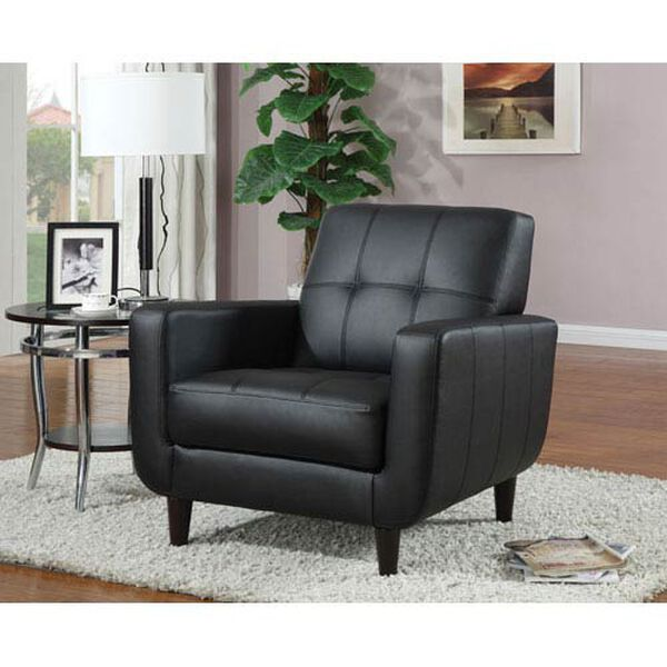 Black Accent Chair with Round Wood Legs, image 1