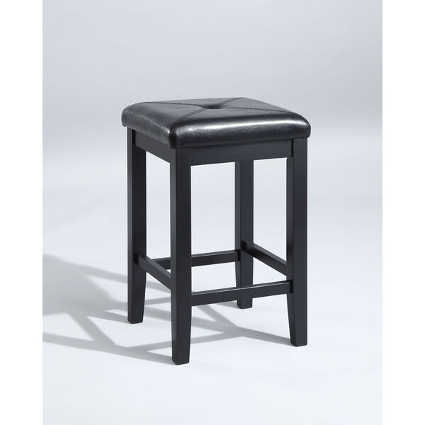 Upholstered Square Seat Bar Stool in Black Finish with 24 Inch Seat Height- Set of Two, image 1