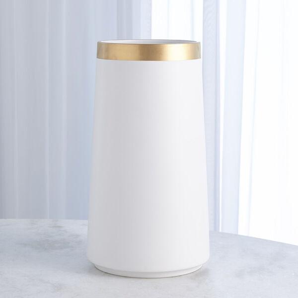 Studio A Home White Large Modern Gold Banded Vase, image 1
