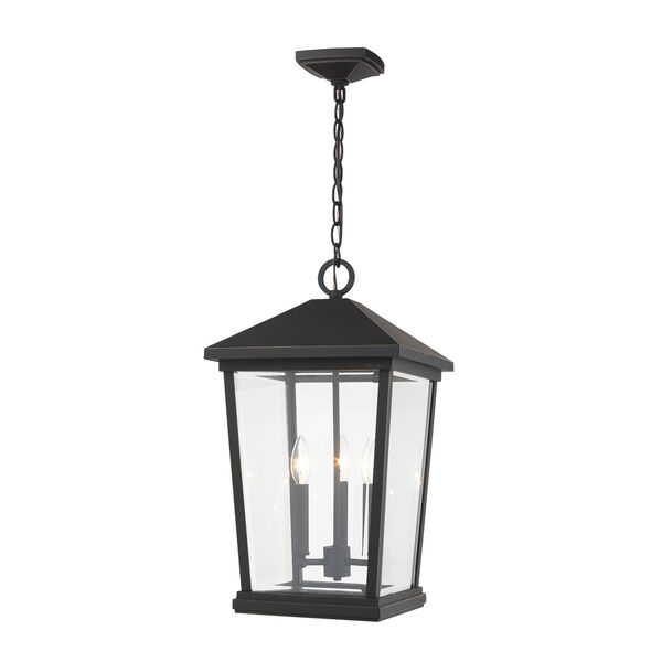 Beacon Oil Rubbed Bronze Three-Light Outdoor Pendant With Transparent Beveled Glass, image 1