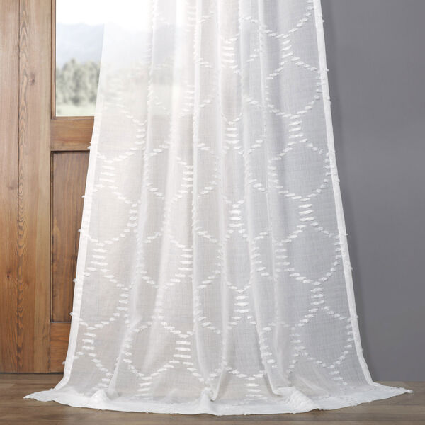 White Shell Patterned Faux Linen Sheer 84 x 50 In. Curtain Single Panel, image 4