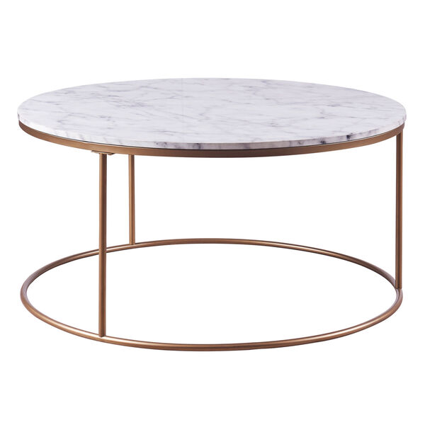 Marmo Faux Marble and Brass Round Coffee Table with Faux Marble, image 1