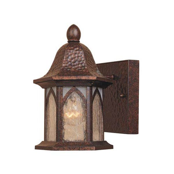 Berkshire Burnished Antique Copper One-Light Outdoor Wall Mount with Clear and Frosted Seedy Glass, image 1