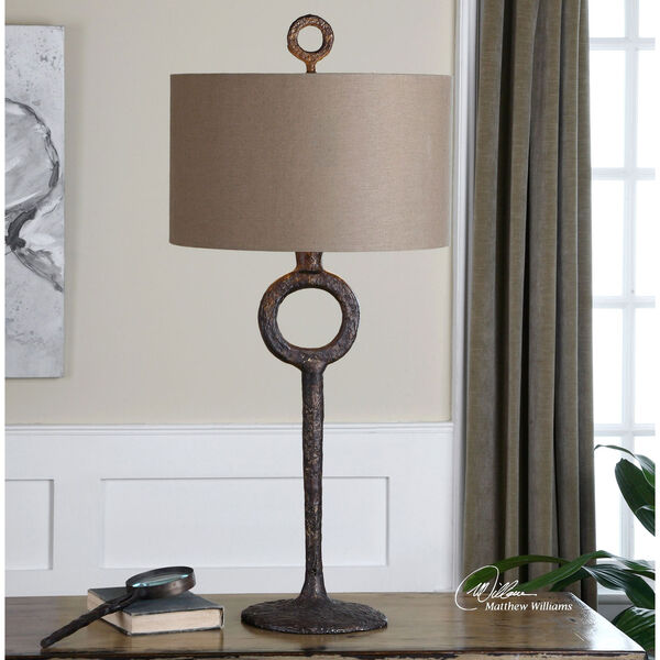 Ferro Cast Iron and Aged Rust Bronze One Light Table Lamp, image 2