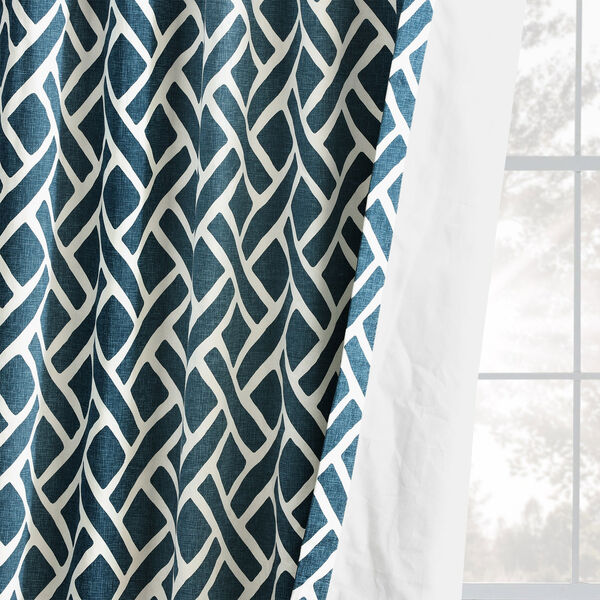 Navy Blue 108 x 50 In. Printed Cotton Twill Curtain Single Panel, image 9