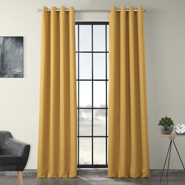 Gold 108 x 50-Inch Polyester Blackout Curtain Single Panel, image 1