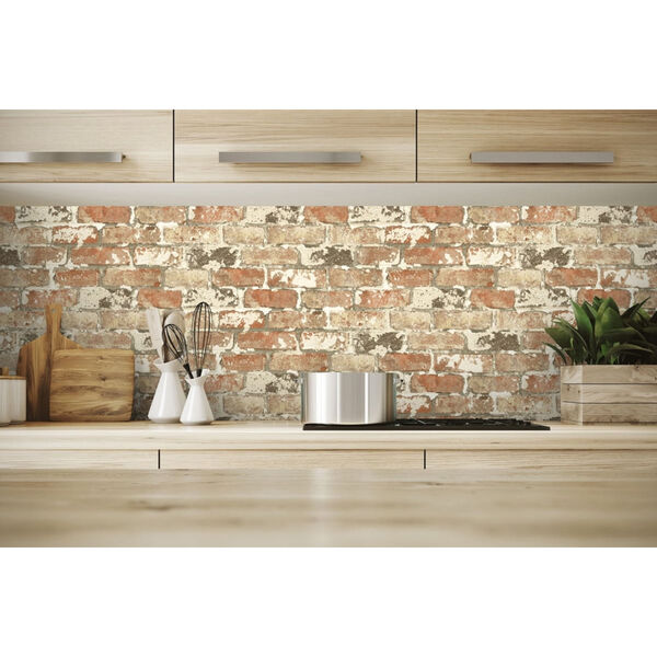 NextWall Weathered Red Brick Peel and Stick Wallpaper, image 4