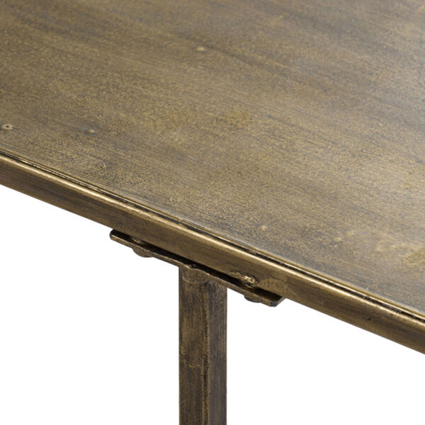Antique Gold Oval Console Table with Under Tier Shelf Ends, image 5