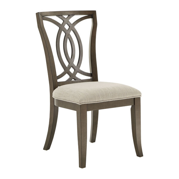 Gloria Dark Walnut and Beige Dining Chair, Set of Two, image 1