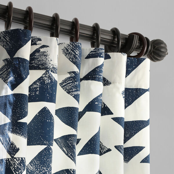 Triad Indigo 96 x 50 In. Printed Cotton Twill Curtain Single Panel, image 2