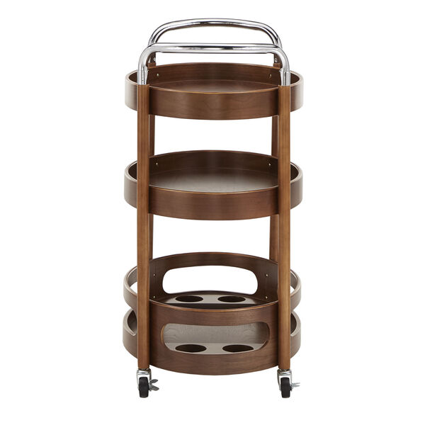 Andrea Walnut Oval Bar Cart, image 3