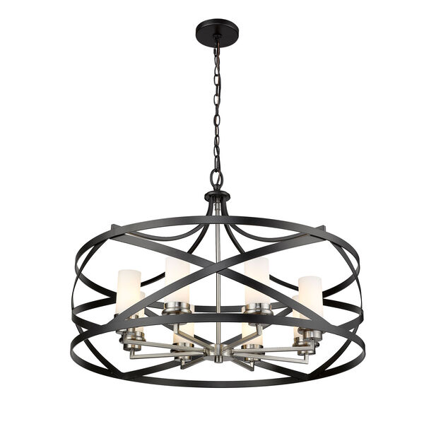 Malcalester Matte Black and Brushed Nickel Eight-Light Pendant, image 5