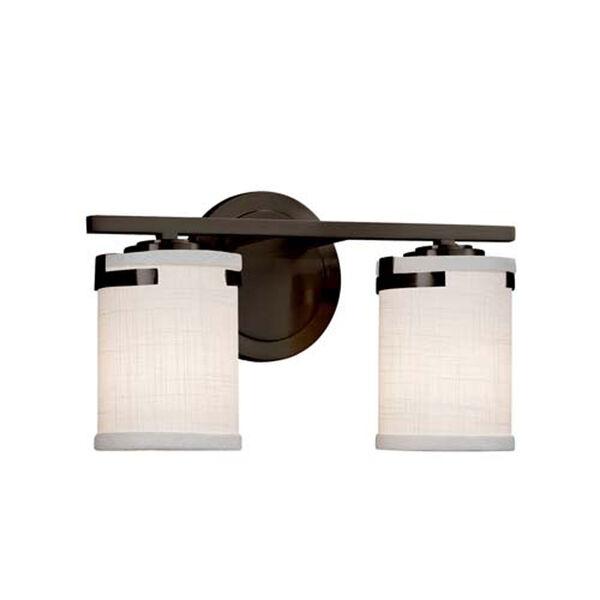 Textile - Atlas Dark Bronze Two-Light Bath Bar with Cylinder Flat Rim White Shade, image 1