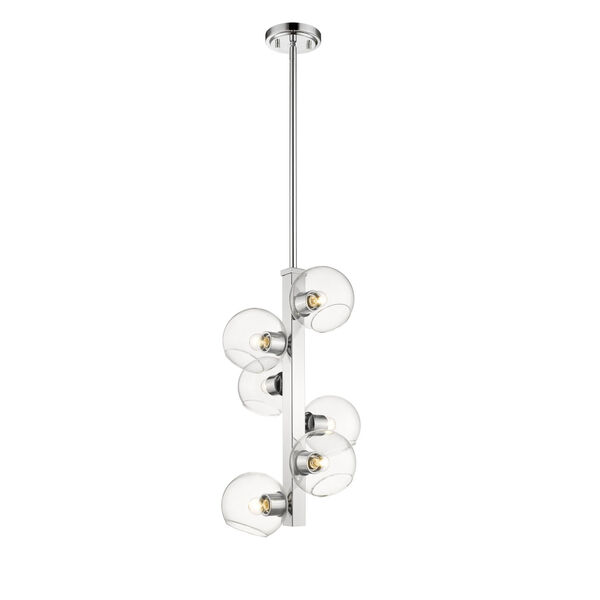 Marquee Chrome Six-Light Pendant with Clear Glass, image 2
