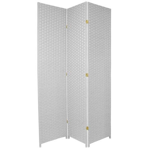 Seven Ft. Tall Woven Fiber Room Divider White Three Panel, Width - 58.5 Inches, image 1