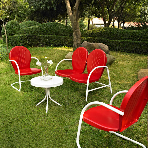 Griffith Four Piece Metal Outdoor Conversation Seating Set: Loveseat and Two Chairs in Red Finish with Side Table in White Finish, image 1
