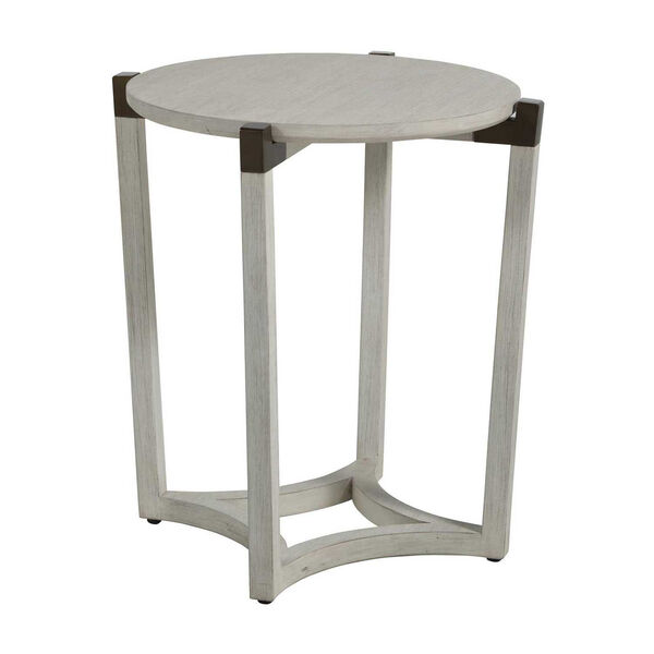 Mills Sesame White and Aged Brass 23-Inch Side Table, image 3