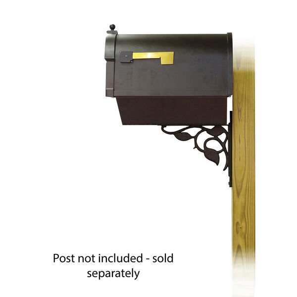 Curbside Black Berkshire Mailbox with Newspaper Tube and Floral Front Single Mounting Bracket, image 3
