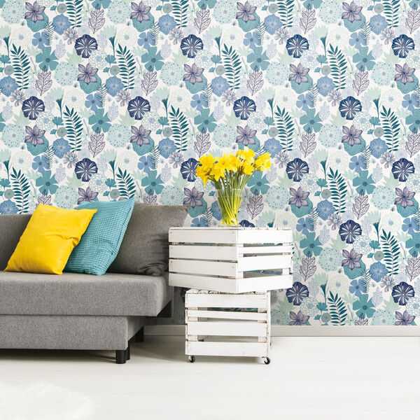 Perennial Blooms Blue Peel and Stick Wallpaper - SAMPLE SWATCH ONLY, image 2