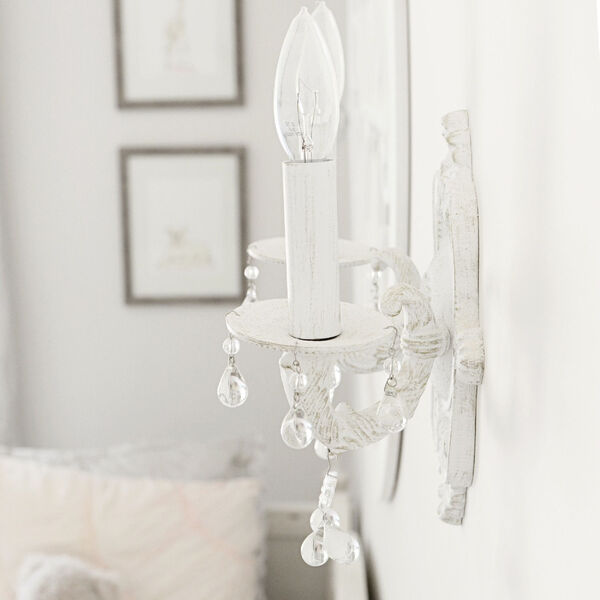 Abbie Antique White Wall Sconce Accented with Murrano Crystal, image 2