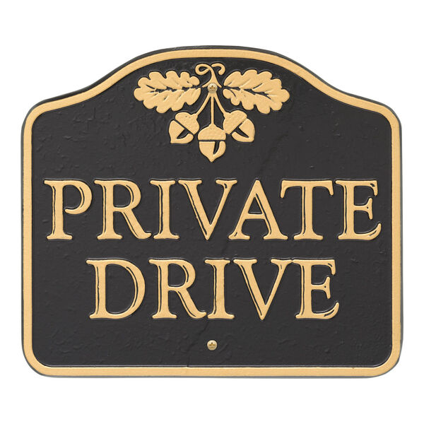 Black Gold Private Drive Sign  Cast Aluminum Wall or Lawn Mounting, image 4