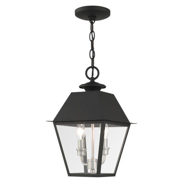 Mansfield Black Two-Light Outdoor Pendant, image 1