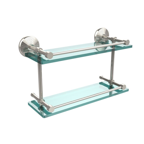 Monte Carlo 16 Inch Double Glass Shelf with Gallery Rail, Polished Nickel, image 1