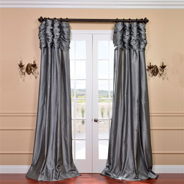 Ruched Platinum 108 x 50-Inch Faux Silk Taffeta Curtain Single Panel, image 1