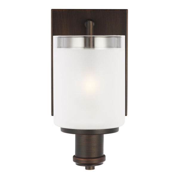Norwood Bronze One-Light Bath Vanity with Clear Highlighted Satin Etched Shade, image 1