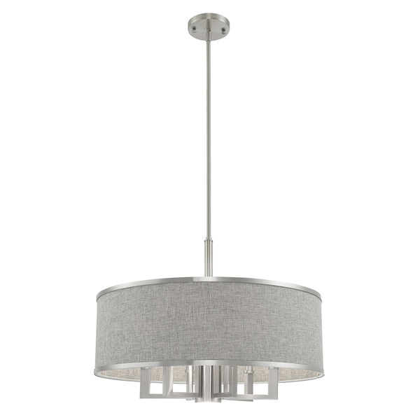 Park Ridge Brushed Nickel 24-Inch Seven-Light Pendant Chandelier with Hand Crafted Gray Hardback Shade, image 4