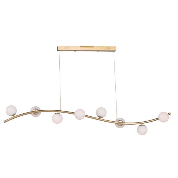 Rover Metallic Gold Eight-Light LED Linear Mini Pendant With Matte White Glass, image 1