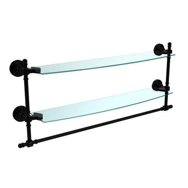 Retro Dot Matte Black 24 Inch Double Glass Shelf with Towel Bar, image 1