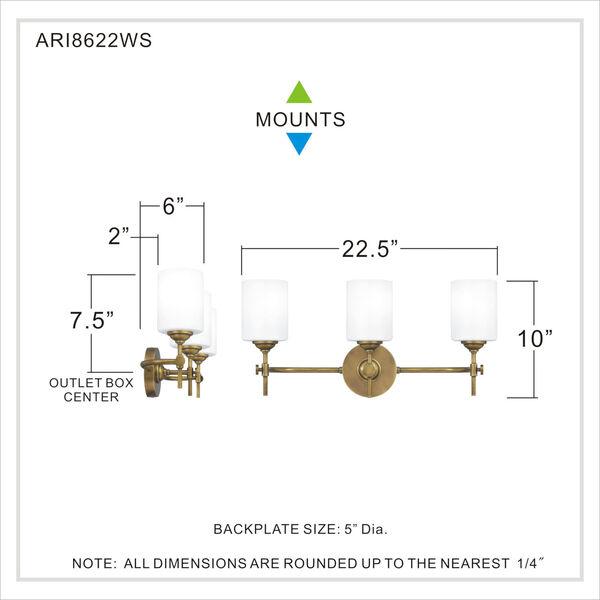 Aria Weathered Brass Three-Light Bath Vanity with Opal Glass, image 5