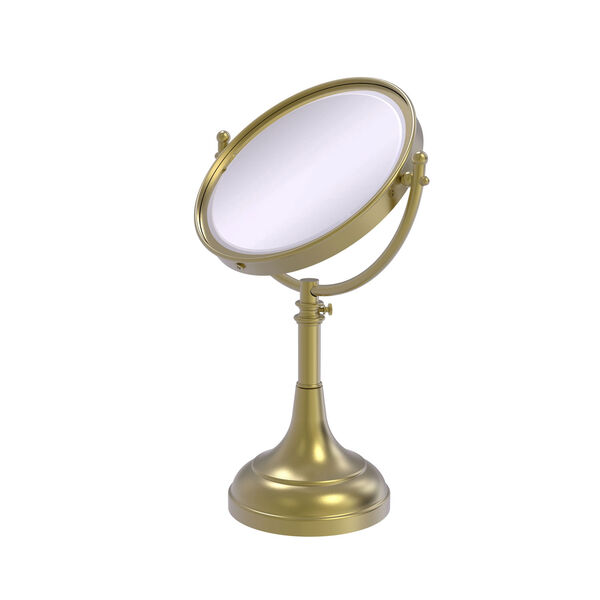 Satin Brass Eight-Inch Height Adjustable Vanity Top Make-Up Mirror 2X Magnification, image 1