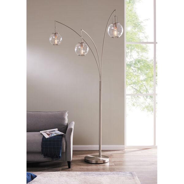 Kaira Brushed Nickel Three-Light Arc Floor Lamp, image 3