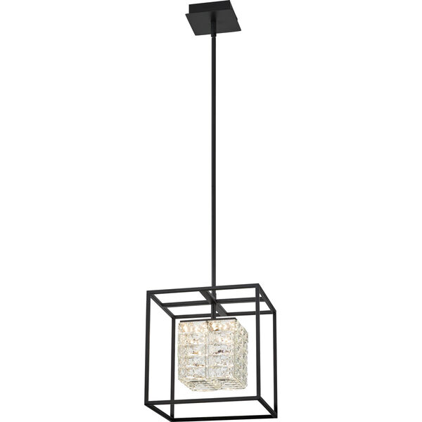 Dazzle Matte Black Integrated LED One-Light Pendant with Crystal, image 3