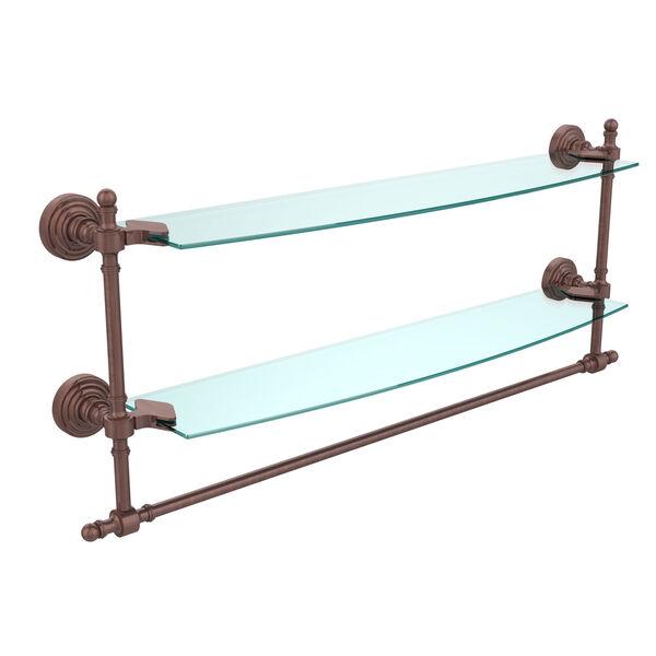Retro Wave Antique Copper 24 Inchx5 InchDouble Shelf w/ Towel Bar, image 1