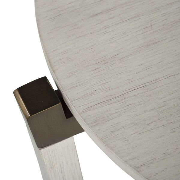 Mills Sesame White and Aged Brass 23-Inch Side Table, image 4