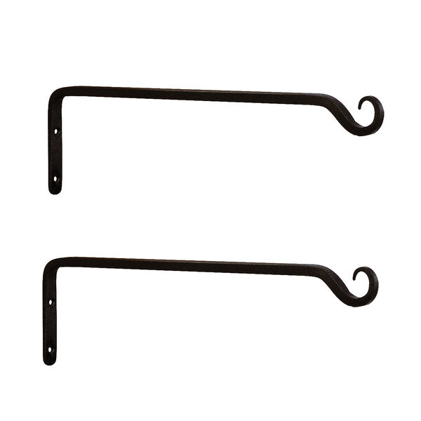 Black Powdercoat Straight Upcurled Wall Bracket, Set of Two, image 1