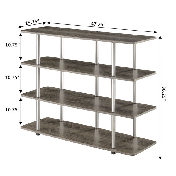 Designs2Go Weathered Gray Highboy Four-Tier TV Stand, image 4