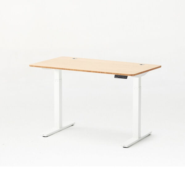 Autonomous White Frame Bamboo Classic Top Adjustable Height Standing Desk, image 1