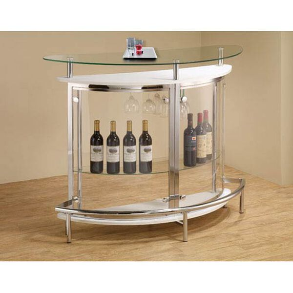 White Contemporary Bar Unit with Clear Acrylic Front, image 1