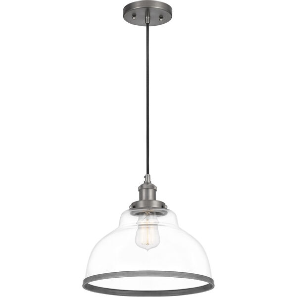 Leo Antique Nickel 12-Inch One-Light Pendant with Clear Glass, image 2