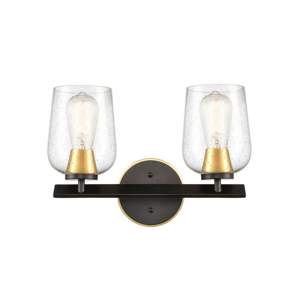 Remy Matte Black Satin Gold 15-Inch Two-Light LED Bath Vanity with Seedy Glass Shade, image 1