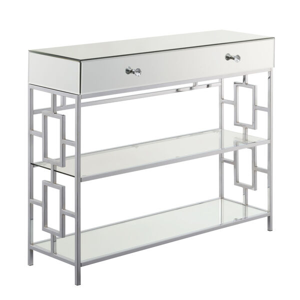 Town Square Mirror, Glass and Chrome Single Drawer Mirrored Console Table, image 1