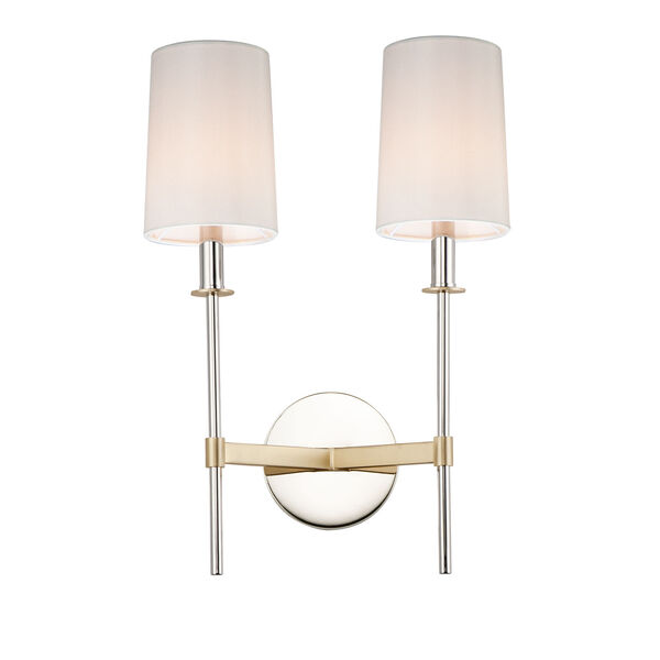Uptown Satin Brass and Polished Nickel Two-Light Wall Sconce, image 1