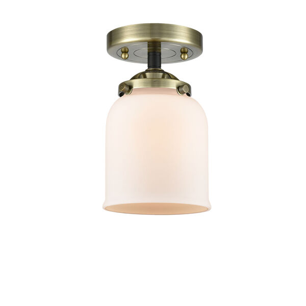Nouveau Black Antique Brass Five-Inch One-Light Semi-Flush Mount with Matte White Glass Shade, image 1