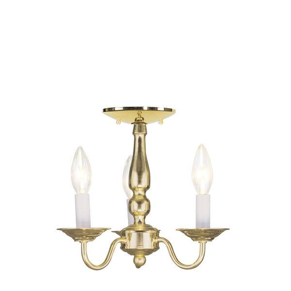 Williamsburgh Polished Brass Three-Light Convertible Semi Flush Mount, image 2