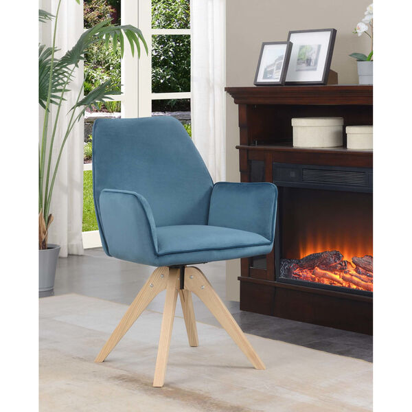 Miranda Velvet Blue Natural Wood Accent Chair, image 1