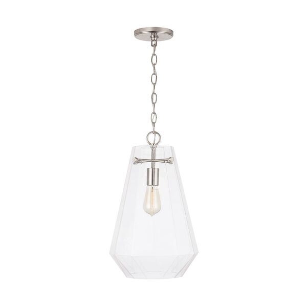 One-Light Pendant with Clear Prismatic Glass, image 2